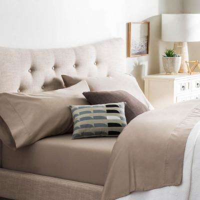 4-Piece Sandstone Cotton Blend Full Sheet Set