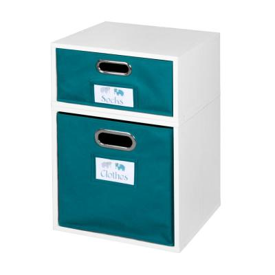 Cubo 13 in. x 19.5 in. White 1 Half-Cube and 1 Full-Cube Organizer with Teal Foldable Storage Cubes