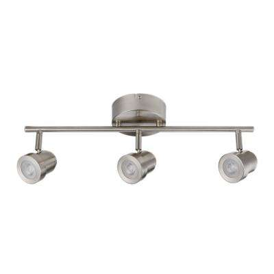 Hunter Collection 3-Light Brushed Nickel Track Lighting 20-Watt LED Integrated Dimmable