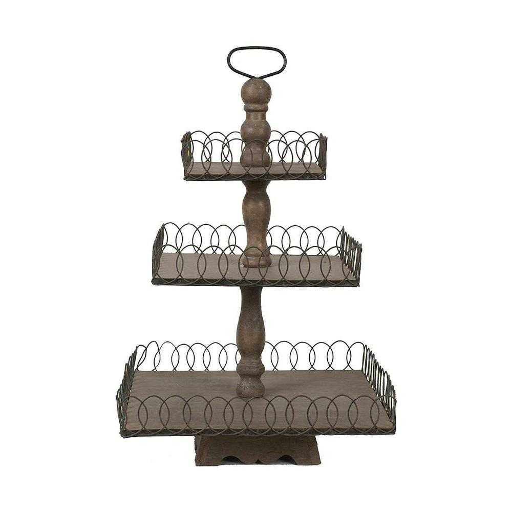 3r Studios Libby Grey Wash Wood And Metal 3 Tier Tray