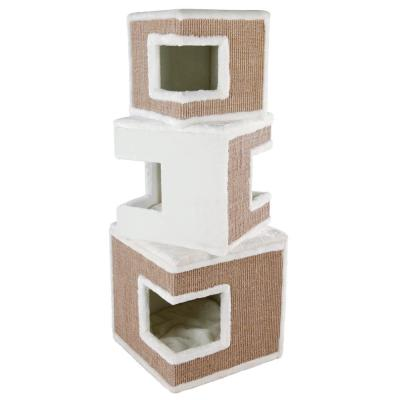 White/Brown Lilo Modular 3-Story Cat Tower