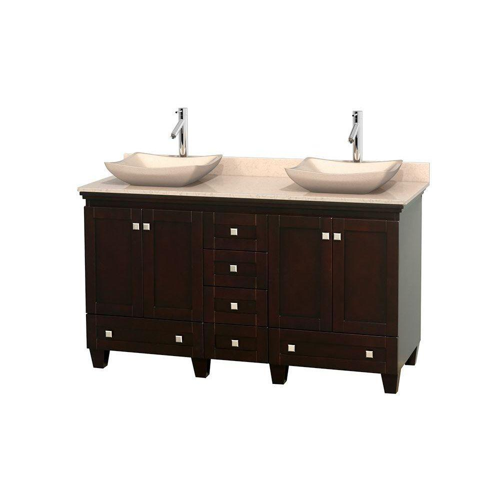 Wyndham Collection Acclaim 60 in. W Double Vanity in Espresso with Marble Vanity Top in Ivory and Ivory Sinks