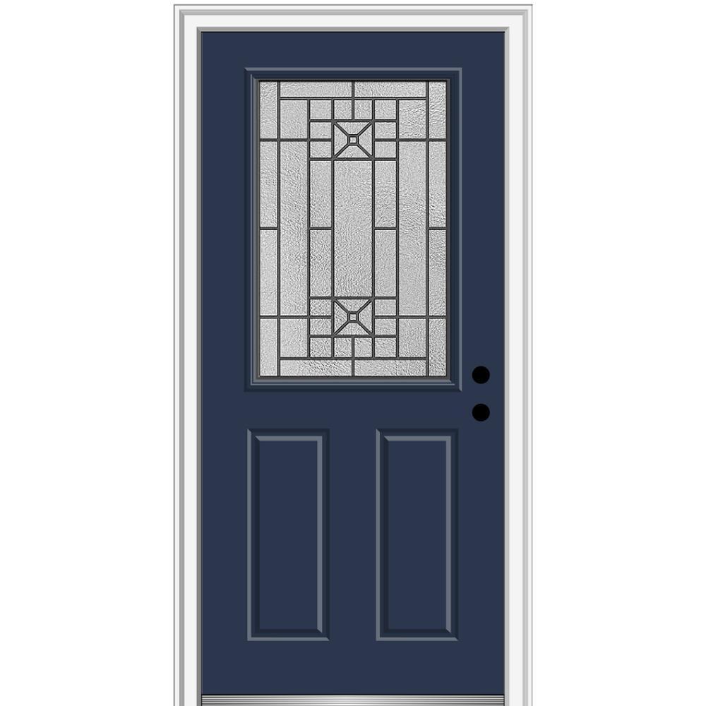 MMI Door 34 in. x 80 in. Courtyard Left-Hand 1/2-Lite Decorative Painted Fiberglass Smooth Prehung Front Door on 6-9/16 in. Frame