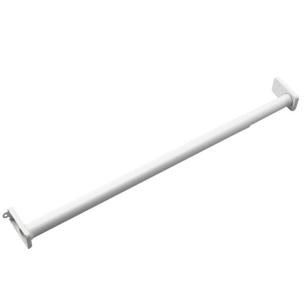 1 in. Adjustable White Closet Rod with Fixed Ends