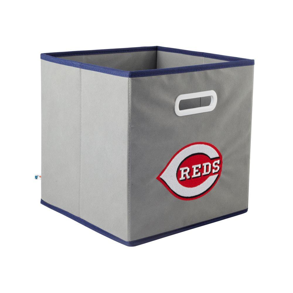 MyOwnersBox MLB STOREITS Cincinnati Reds 10-1/2 in. x 10-1/2 in. x 11 in. Grey Fabric Storage Drawer