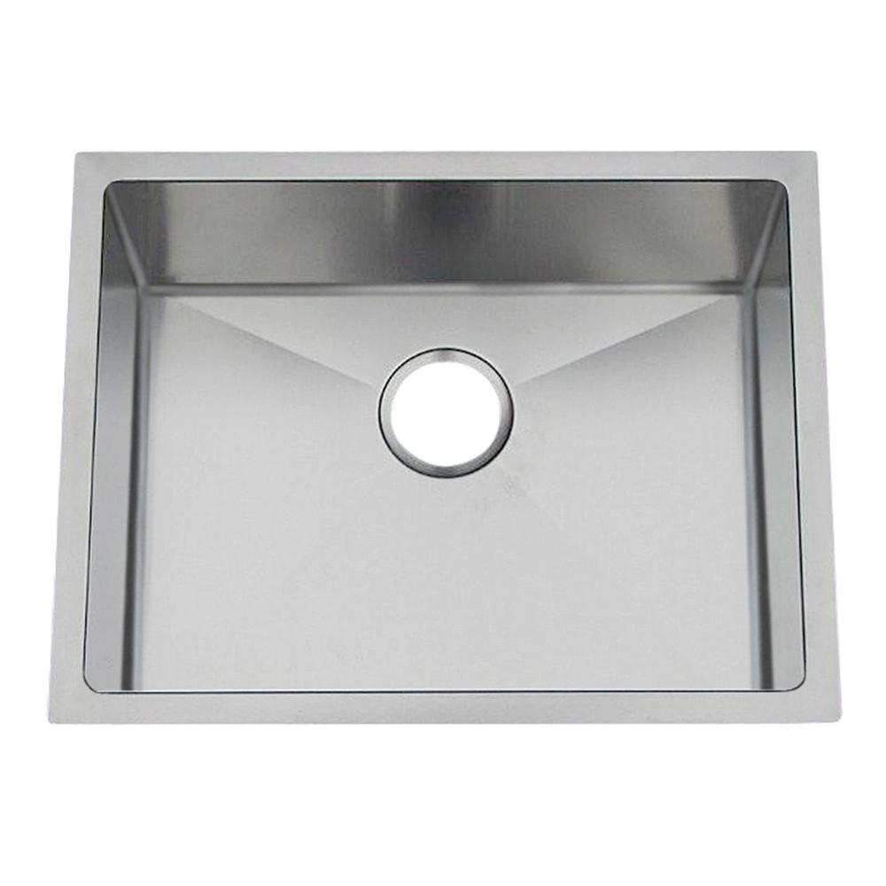 Gallery Undermount Stainless Steel 22 in. 0-Hole Single Bowl Kitchen Sink