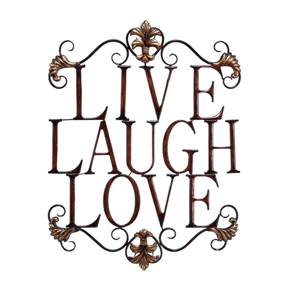Live Laugh Love Metal Brown Wall Art