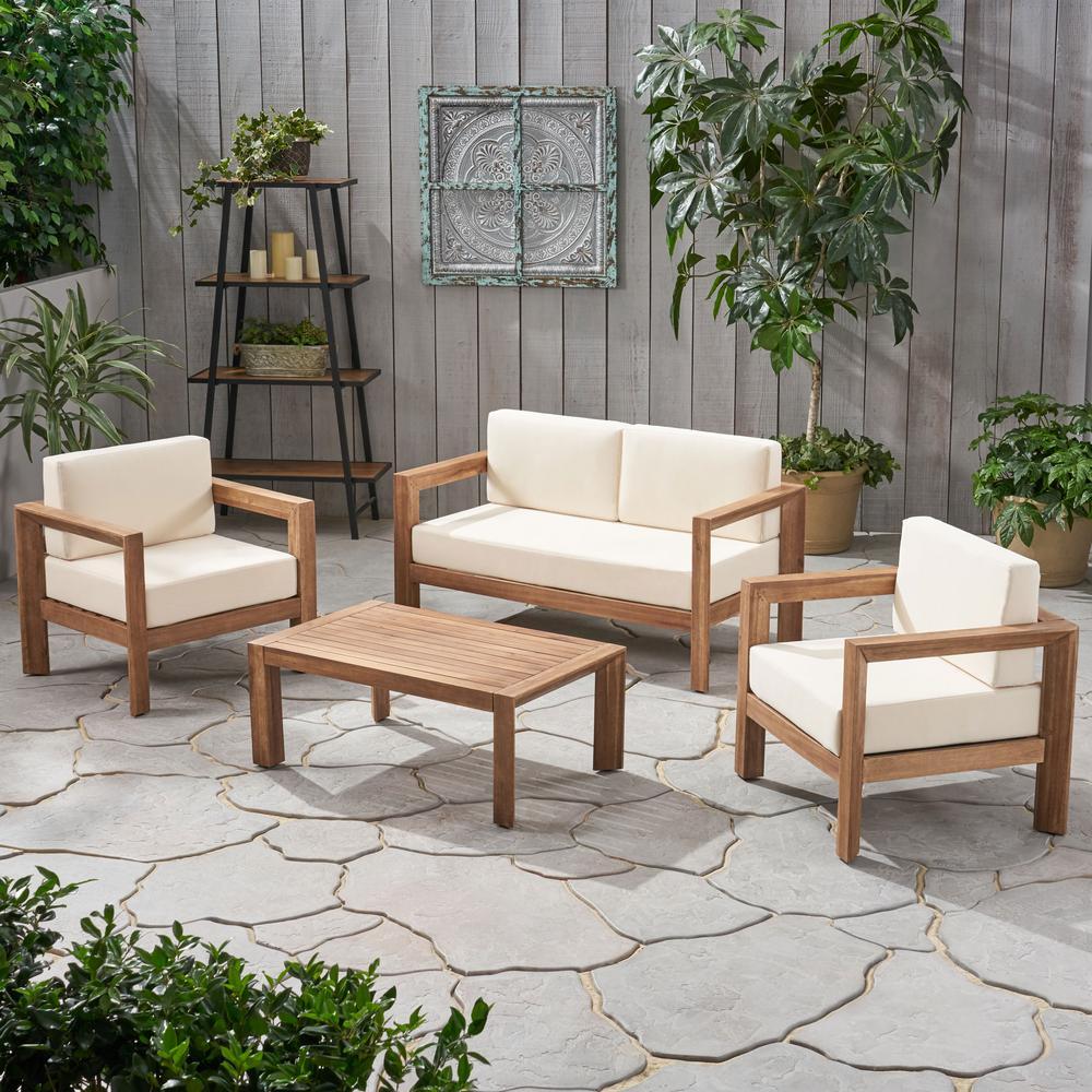 Genser Brown 4-Piece Acacia Wood Patio Conversation Set with Beige Cushions