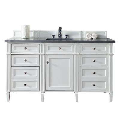 Brittany 60 in. W Single Vanity in Cottage White with Quartz Vanity Top in Gray with White Basin