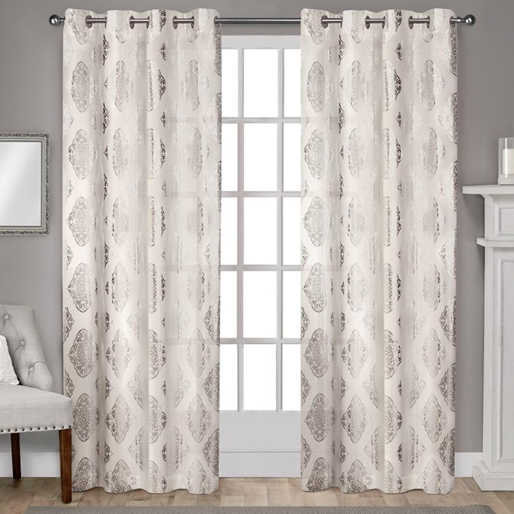 Augustus off white metallic light filtering grommet top - Off white curtains for living room ...