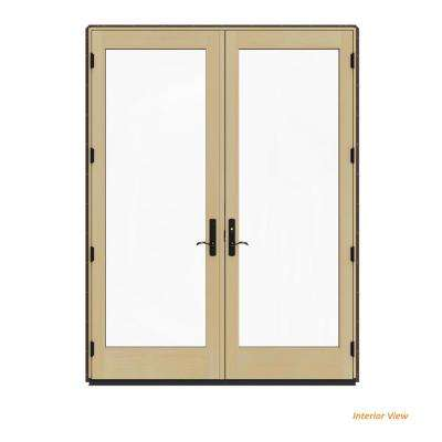 72 in. x 96 in. W-4500 Contemporary Brown Clad Wood Left-Hand Full Lite French Patio Door w/Lacquered Interior