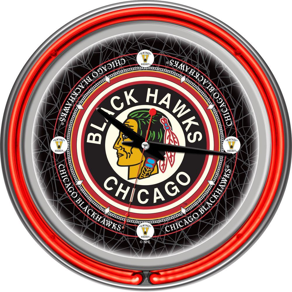 14 in. Vintage Chicago Blackhawks NHL Neon Wall Clock