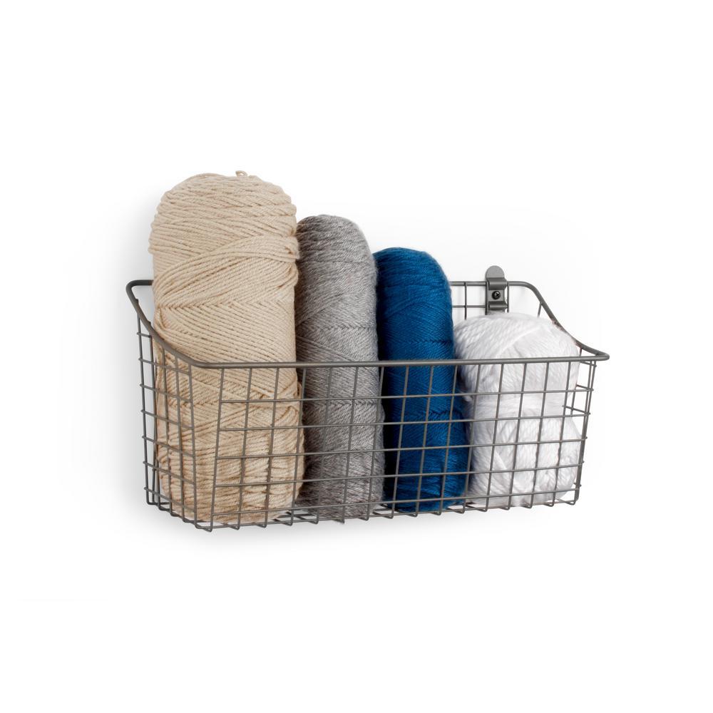Vintage 7.5 in. x 15.25 in. x 5.5 in. Wall Mount Metal Basket in Industrial Gray