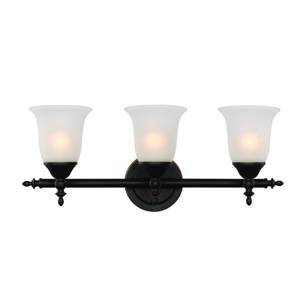 Bel Air Lighting 3 Light Rubbed Oil Bronze Bell Knob Triple Vanity Bar Light 20393 Rob The