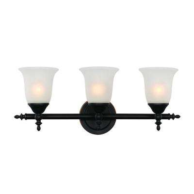 3-Light Rubbed Oil Bronze Bell Knob Triple Vanity Bar Light