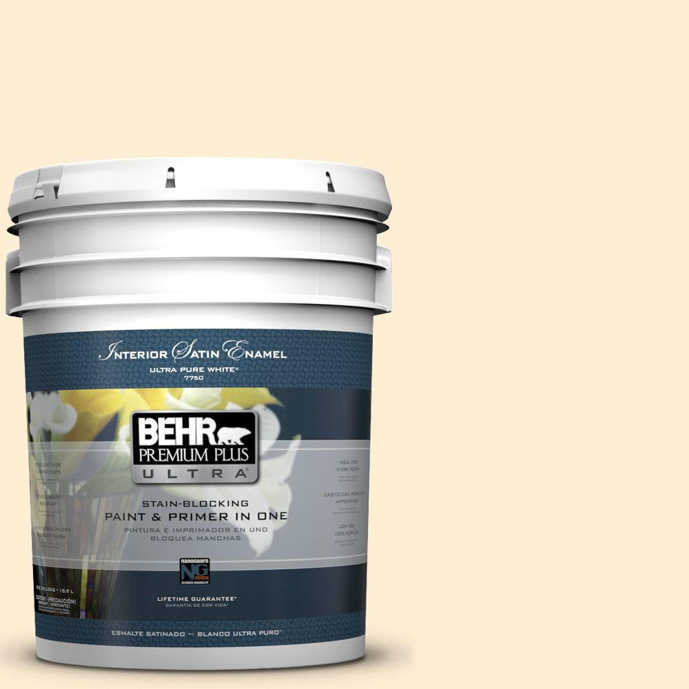 5-gal. #M270-1 Pearly White Satin Enamel Interior Paint