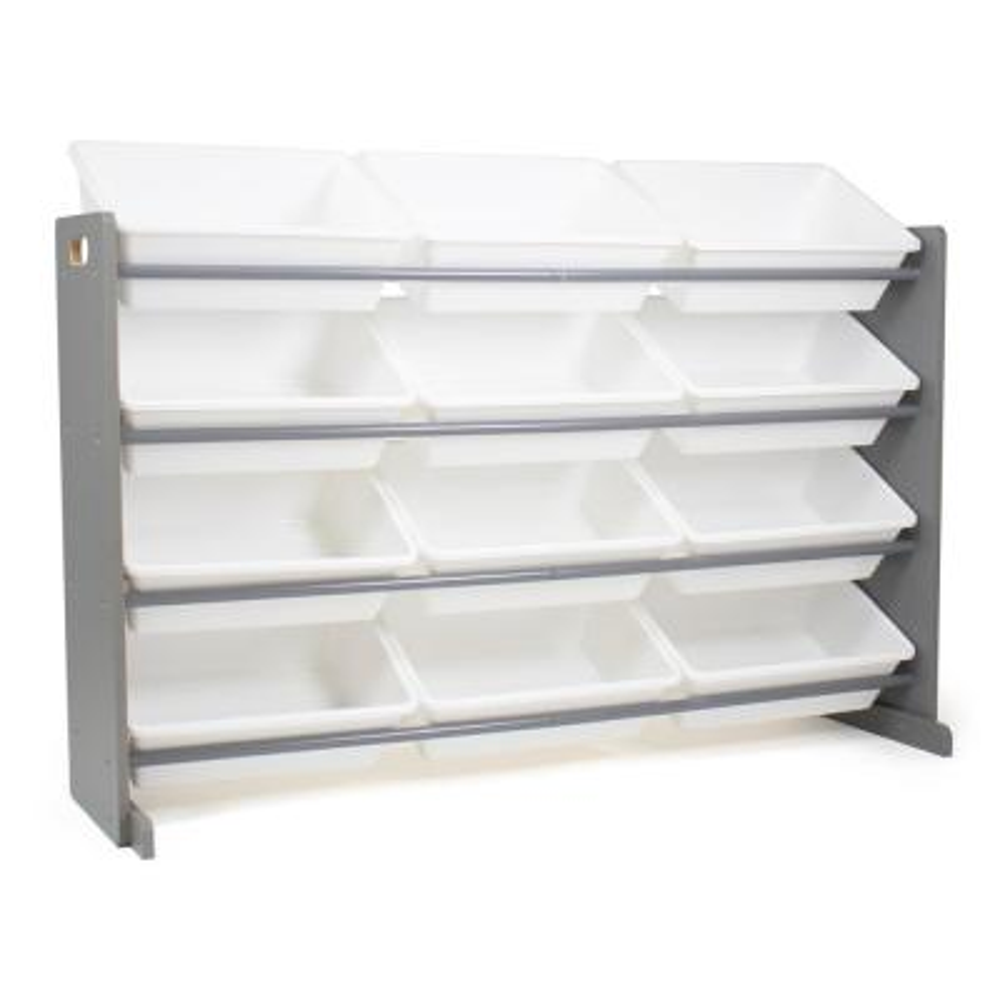 "Grey 31"" in. H Kids Engineered Wood Toy Storage Organizer with 12 Super-Sized Plastic Storage Bins"