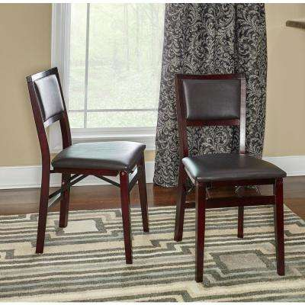 Triena Espresso Pad Back Folding Chairs (Set Of 2)