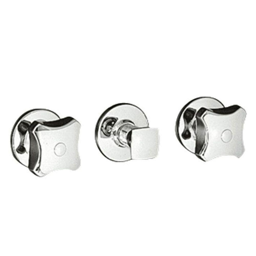 Kohler Three Handle Shower Faucet.Kohler Triton Wall Mount 3 Handle Valve Trim Kit With Standard Handles In Polished Chrome Valve Not Included