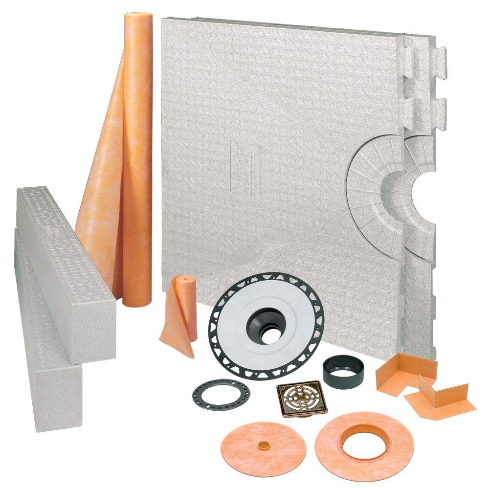 null Kerdi-Shower 32 in. x 60 in. Shower Kit in ABS with Oil-Rubbed Bronze Stainless Steel Drain Grate