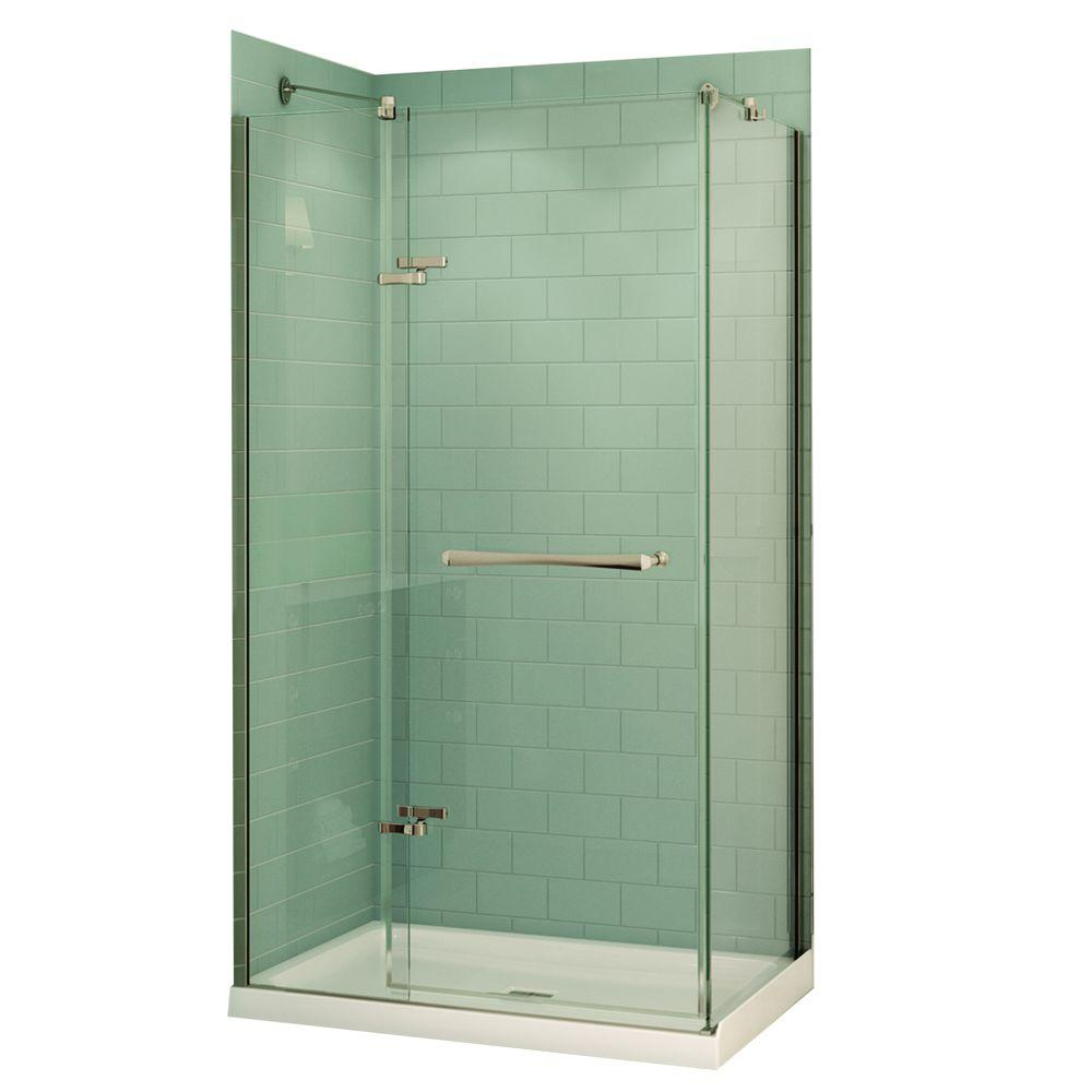 Frameless Pivot Shower Door In Chrome With 48 In. X 32 In. Center Drain  Base In White 106099 000 001 100   The Home Depot
