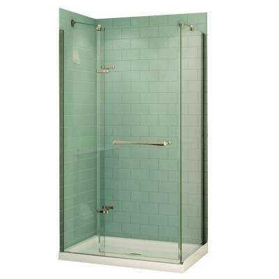 Reveal 48 in. x 74.5 in. Frameless Pivot Shower Door in Chrome with 48 in. x 32 in. Center Drain Base in White