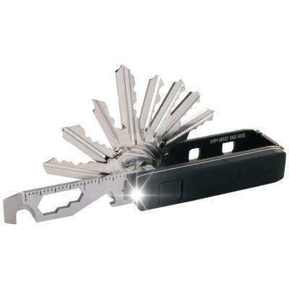 Pivot Essential Bundle Key Organizer Multi-Tool with Mini-Flashlight and KeyportID Lost and Found Service (Black)