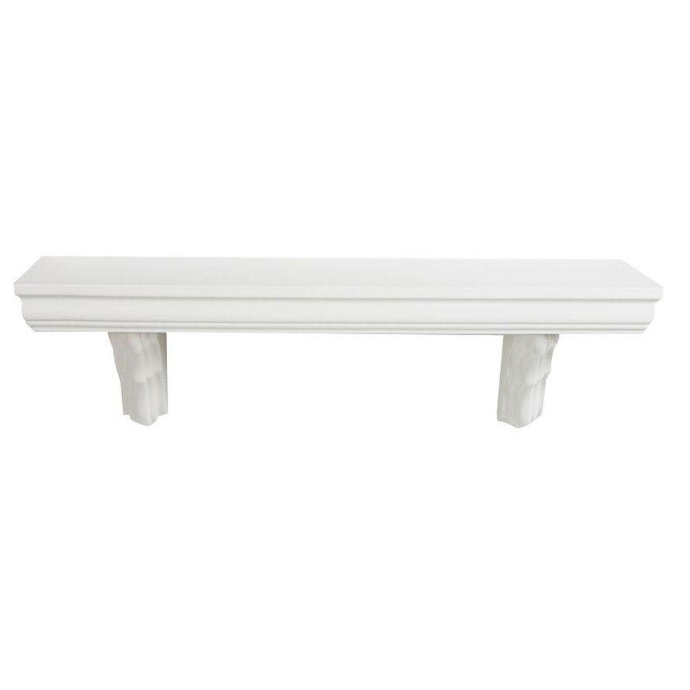 inPlace inPlace 35.4 in. L x 7.5 in. H Ivory Classic MDF Bracketed Wall Shelf, White