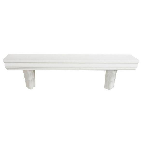 35.4 in. L x 7.5 in. H Ivory Classic MDF Bracketed Wall Shelf