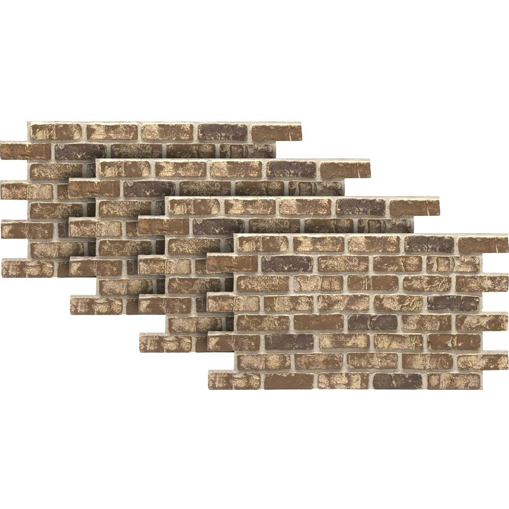 Chestnut 24 in. x 46-3/8 in. Faux Used Brick Panel (4-Pack)