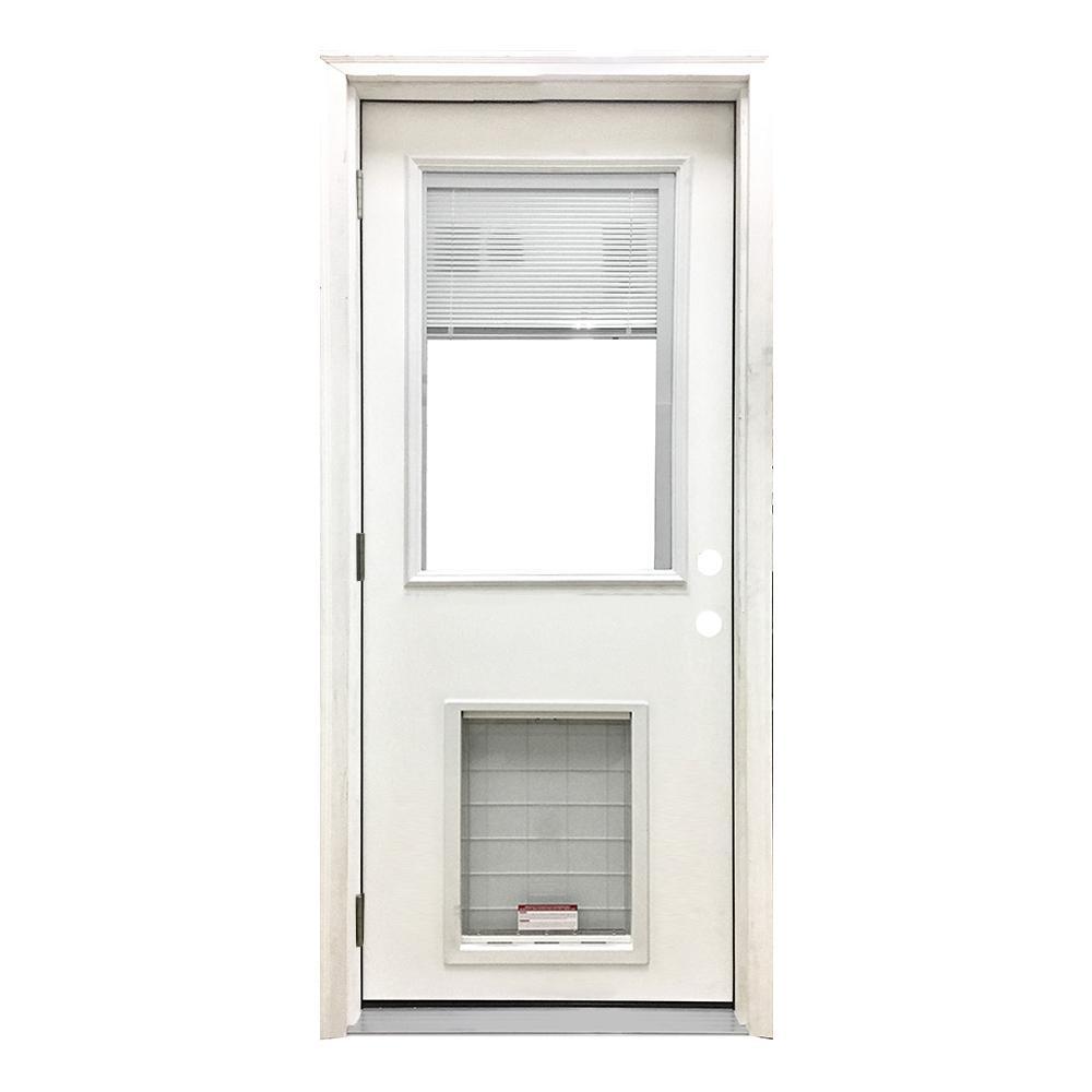 32 in. x 80 in. Classic Clear Mini-Blind RHOS White Primed Fiberglass Prehung Front Door with SL Pet Door