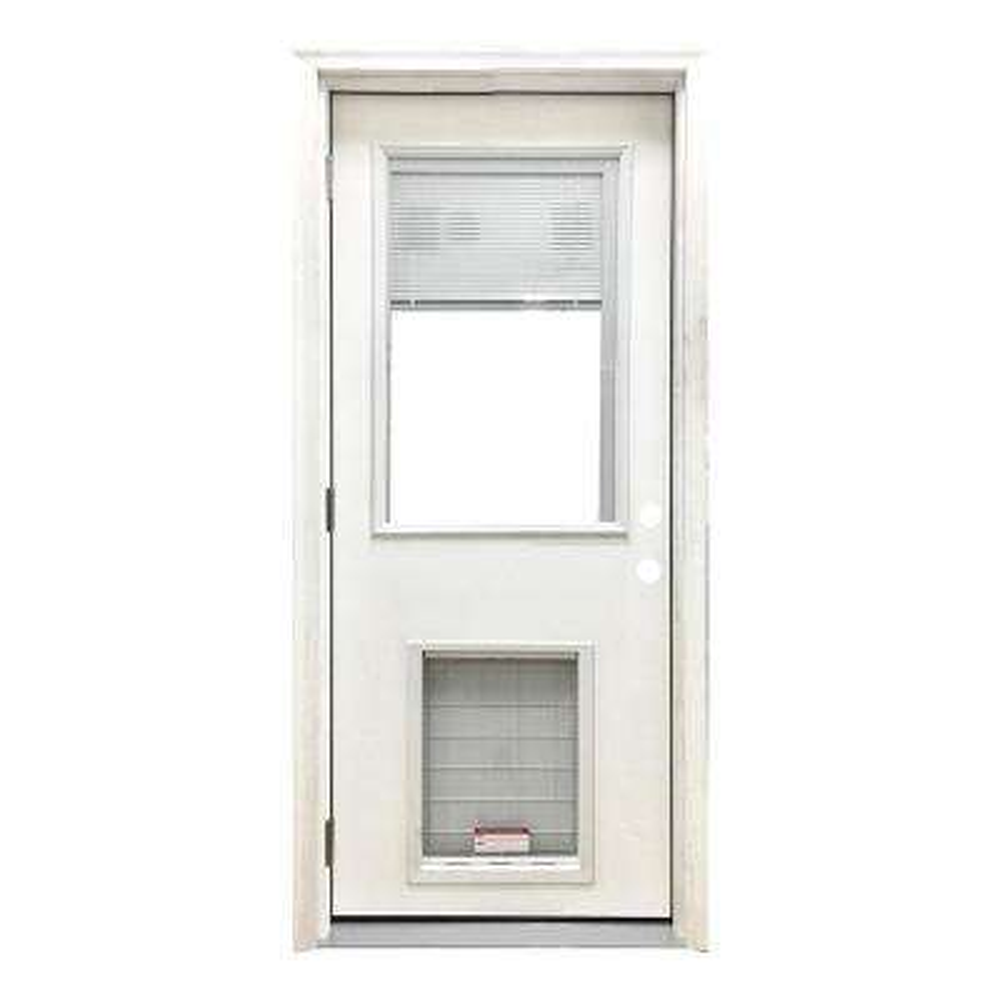 32 in. x 80 in. Classic Mini-Blind RHOS White Primed Textured Fiberglass Prehung Front Door with SL Pet Door