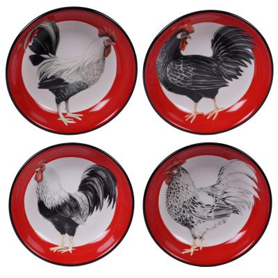 Homestead Rooster 4-Piece Multi-Colored 9 in. Soup/Pasta Bowl Set