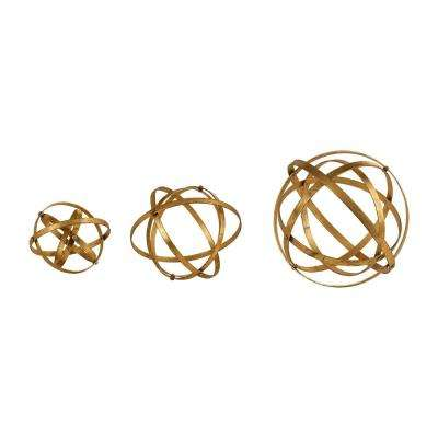 11.75 in. Stetson Gold Spheres (Set of 3)