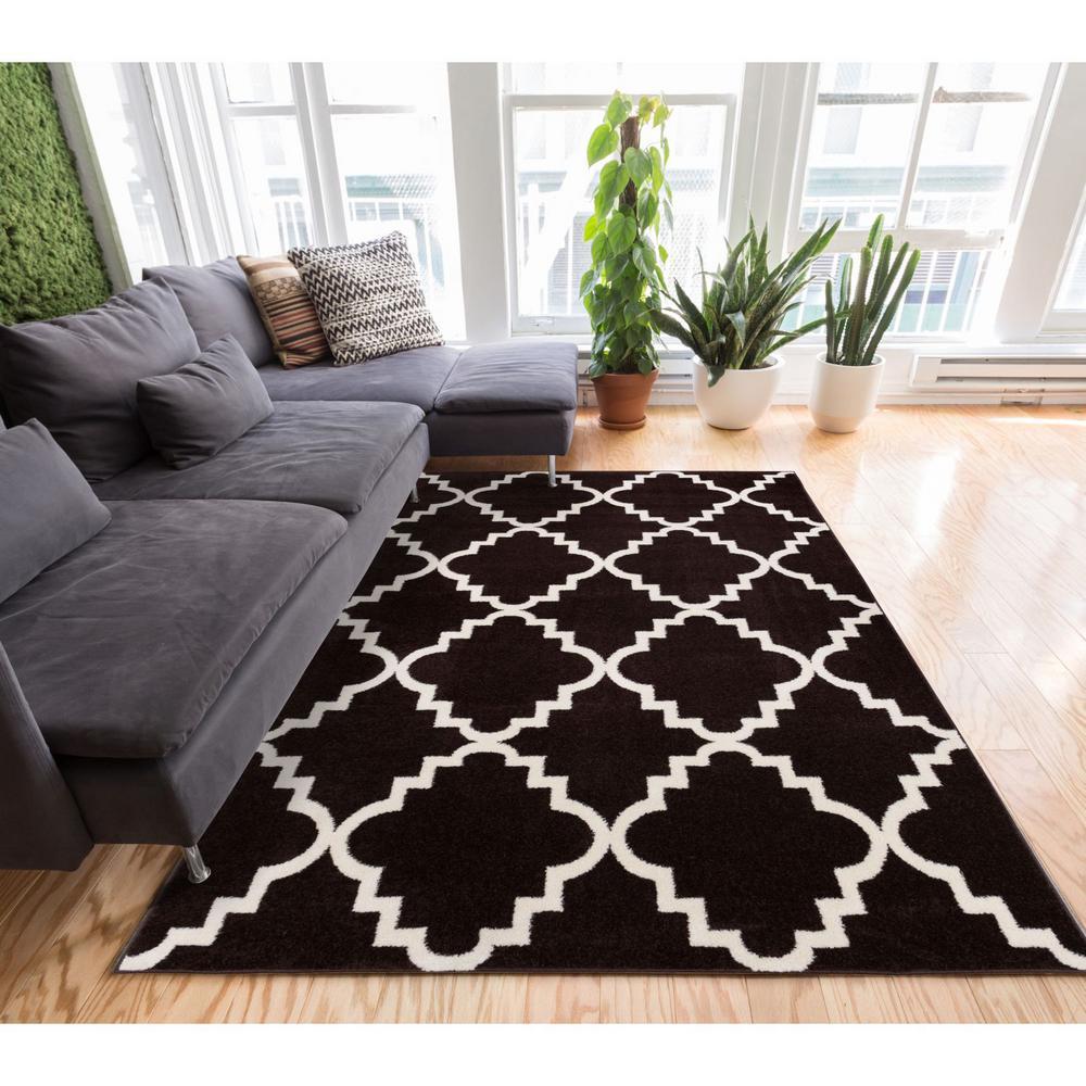 Sydney Lulu's Lattice Trellis Black 8 ft. x 11 ft. Modern Area Rug