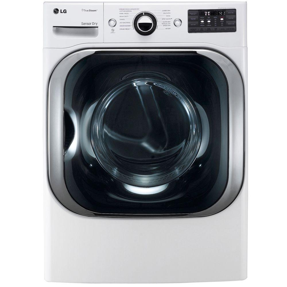 LG Electronics 9.0 cu. ft. Electric Dryer with Steam in White