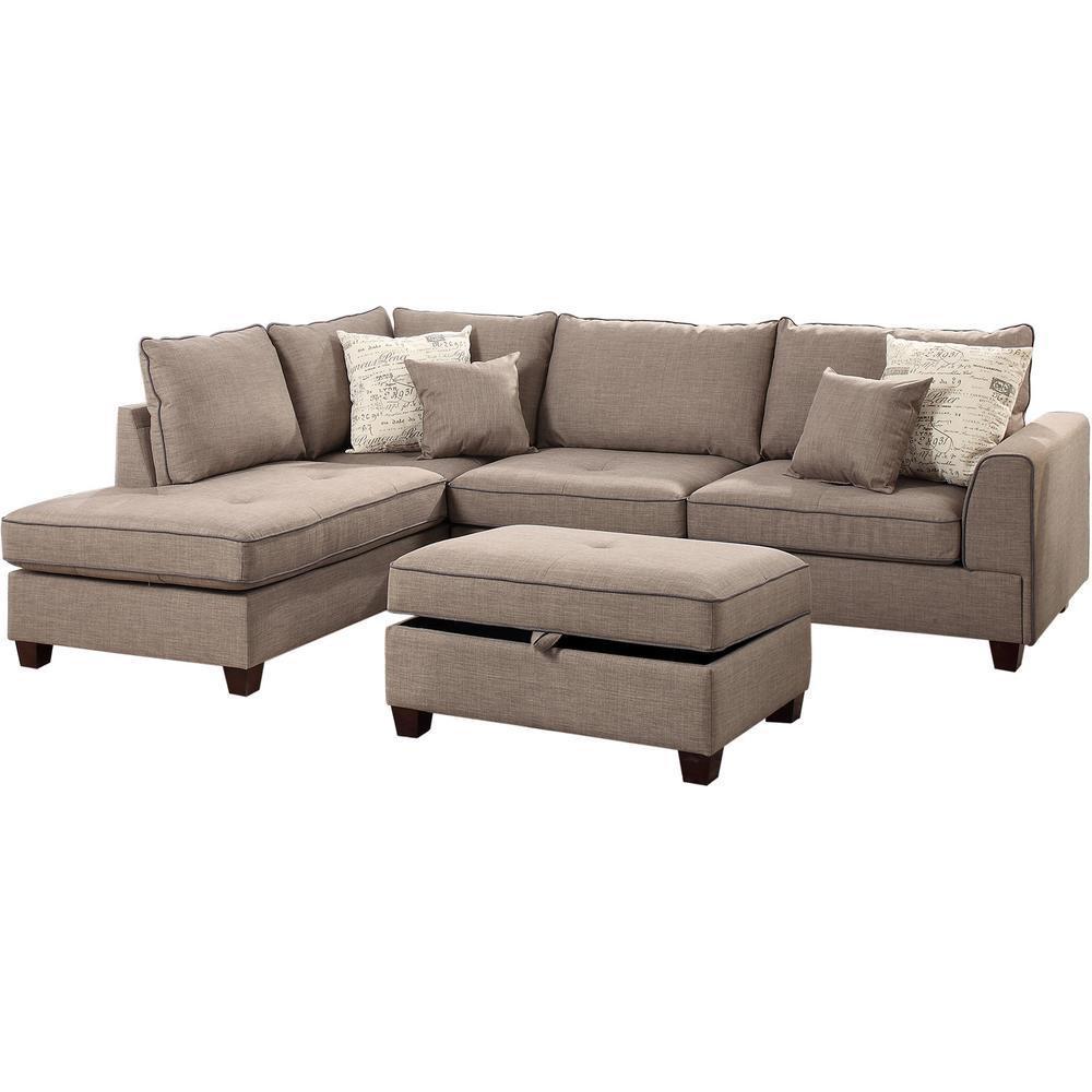 Merveilleux Venetian Worldwide Siena 3 Piece Sectional Sofa In Mocha With Storage  Ottoman
