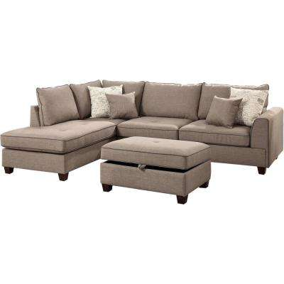 Siena 3 Piece Sectional Sofa In Mocha With Storage Ottoman