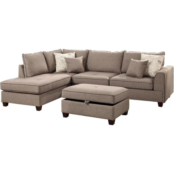 Siena Mocha Fabric 6-Seater L-Shaped Sectional Sofa with Ottoman