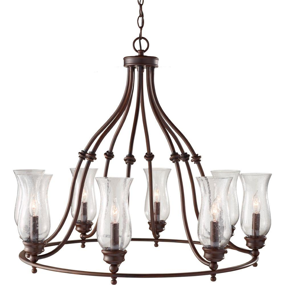Feiss Pickering Lane 8-Light Heritage Bronze 1-Tier Chandelier with Fabric Shade