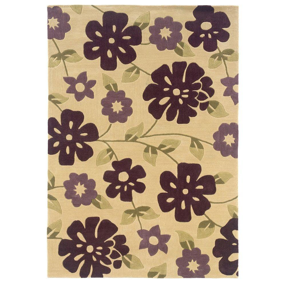 Linon Home Decor Trio Collection Cream and Purple 5 ft. x 7 ft. Indoor Area Rug