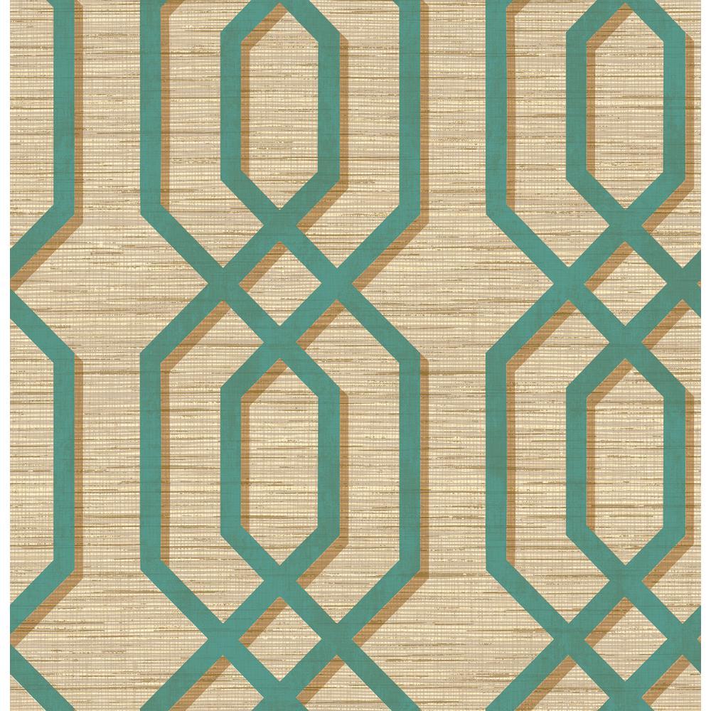 Topaz Teal and Metallic Gold Geometric Wallpaper