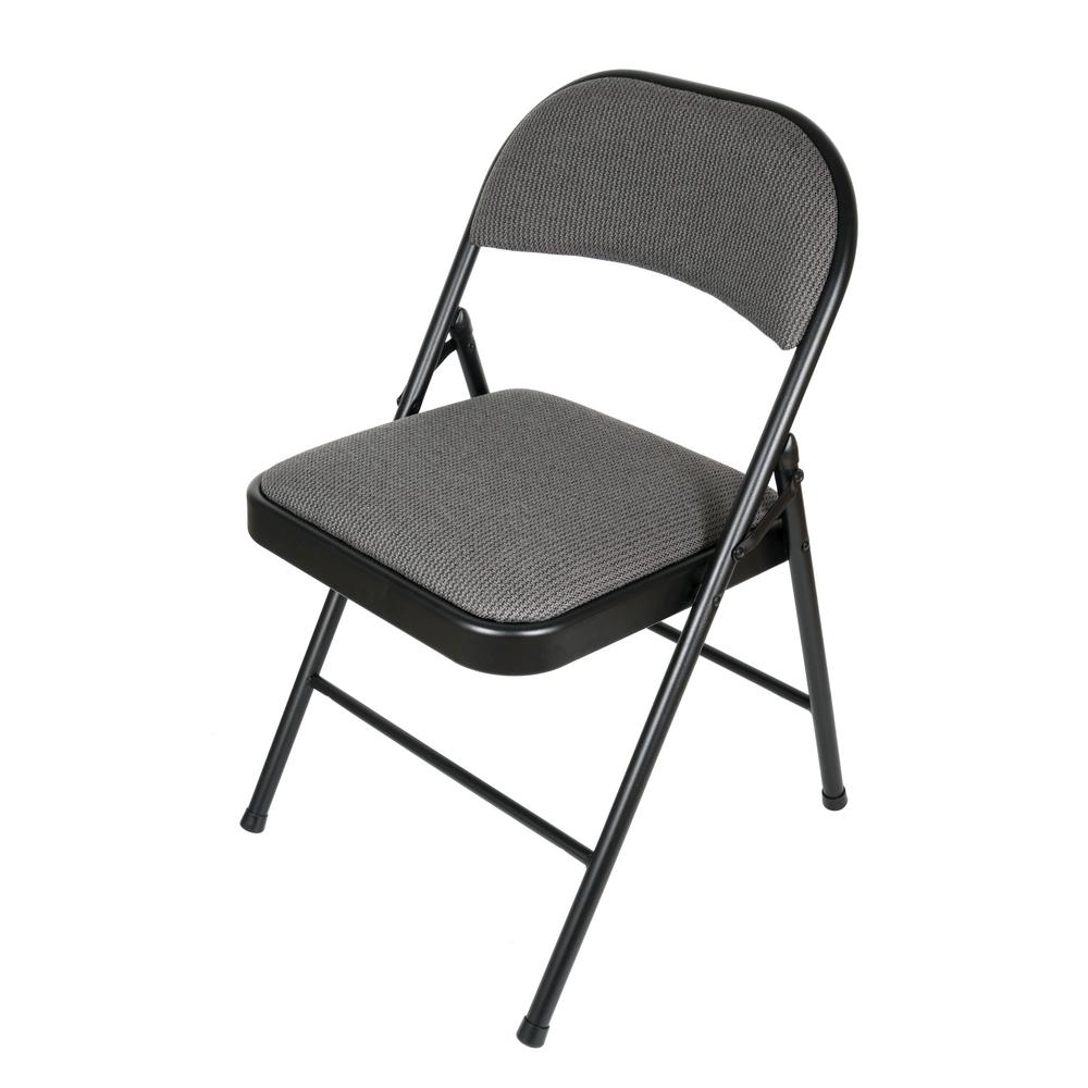 Genial Black/Grey Fabric Padded Seat Folding Chair (Set Of 4)