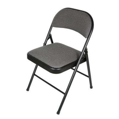 Deluxe Fabric Black/Grey Padded Metal Folding Chair (Set of 4)