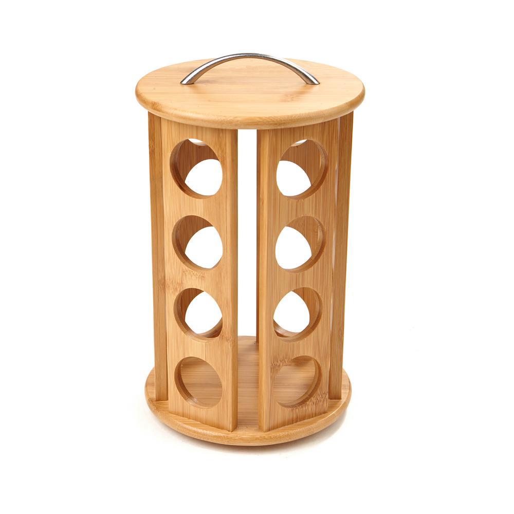 24-Capacity Bamboo K-Cup Storage Organizer and Coffee Pod Carousel