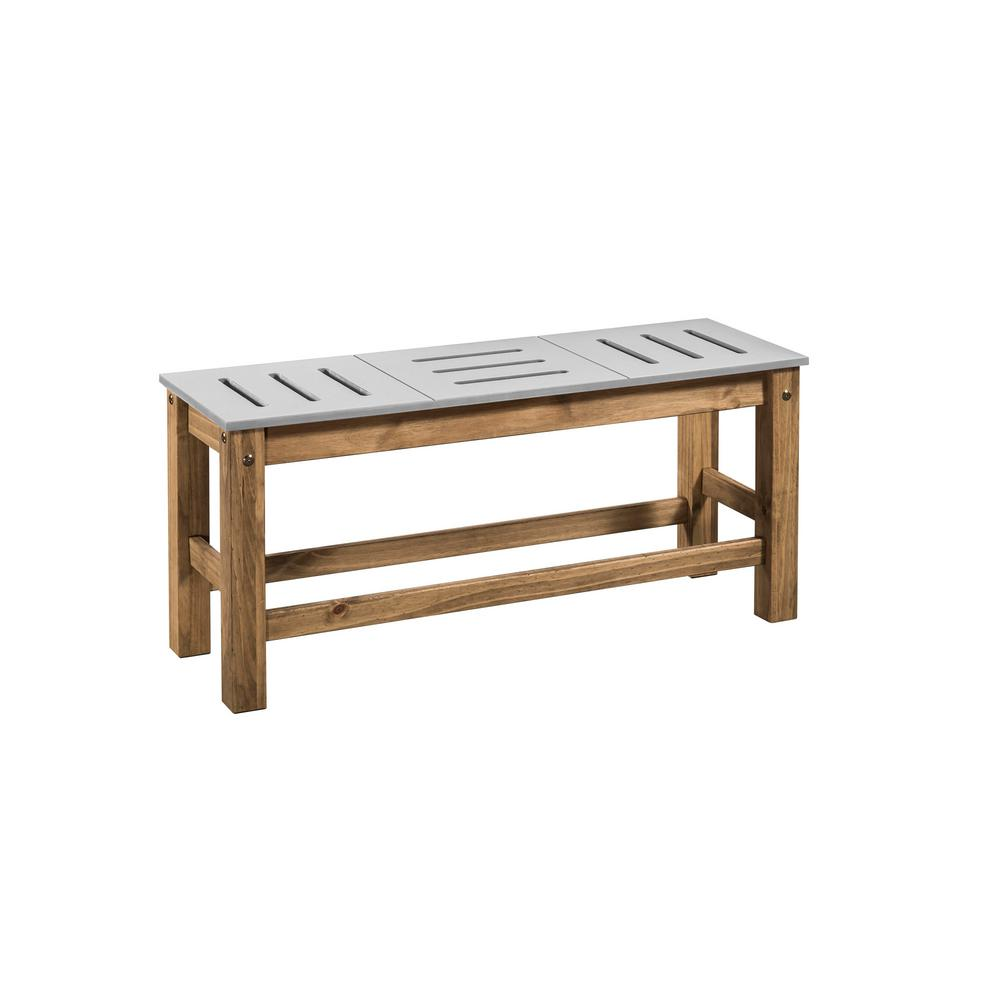 Stillwell 37.8 in. Gray and Natural Wood Bench (Set of 2)
