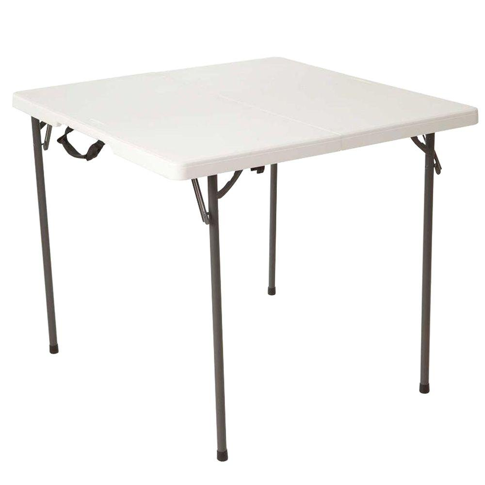 34 in. White Granite Square Fold-In-Half Table