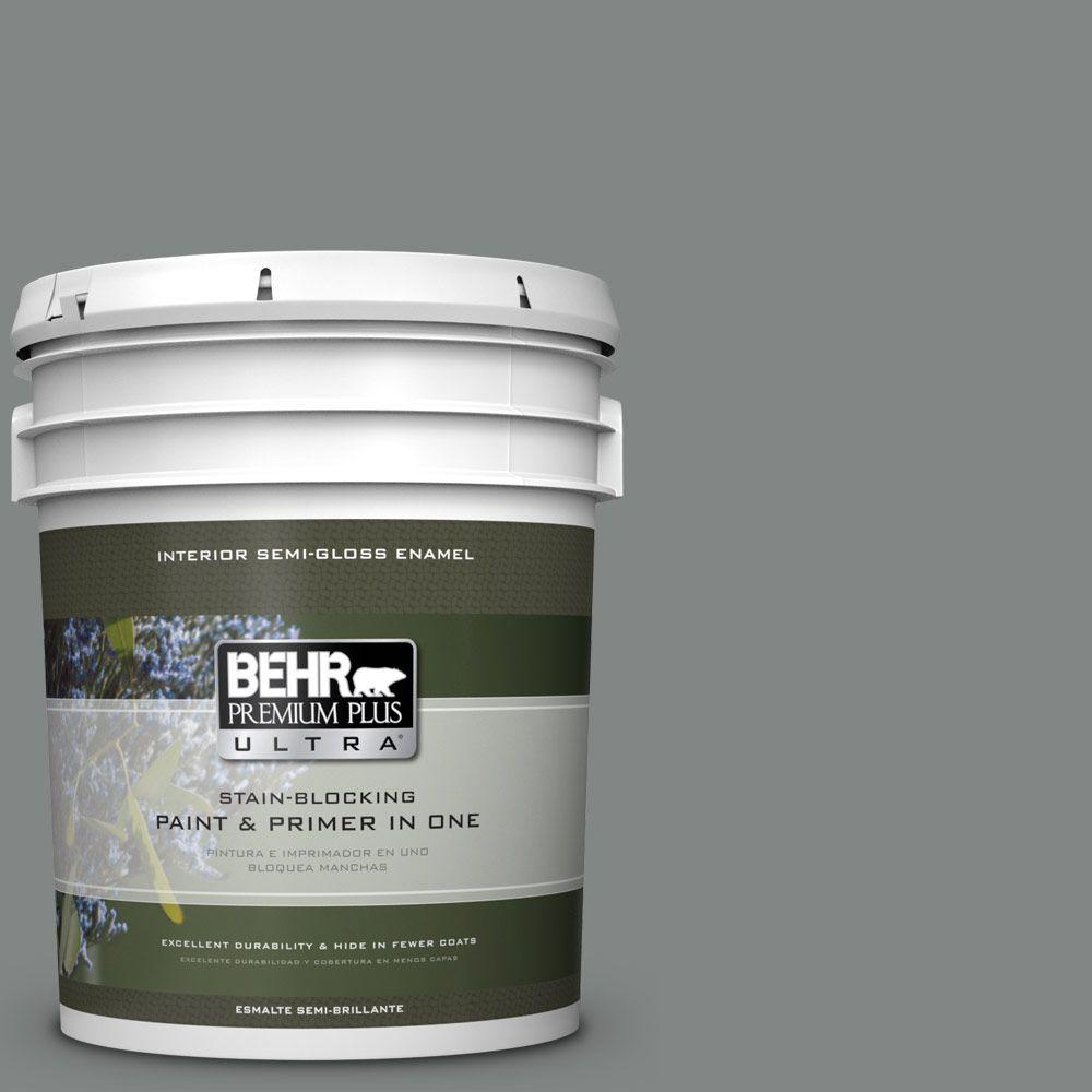 5 gal. #PPU25-17 Euro Gray Semi-Gloss Enamel Interior Paint