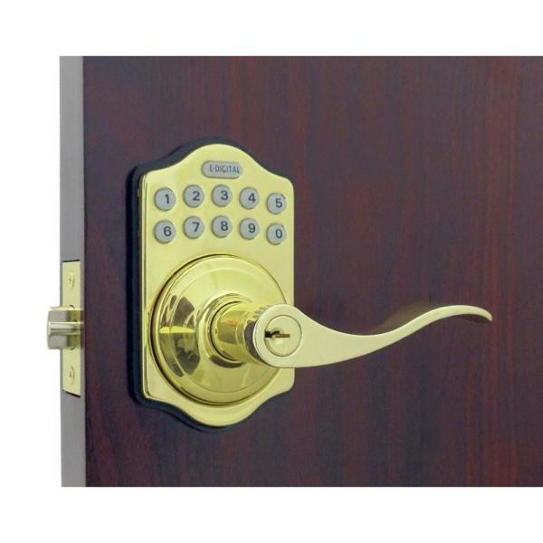 E Digital E-985 Bright Brass Electronic Lever Lock Remote Capable