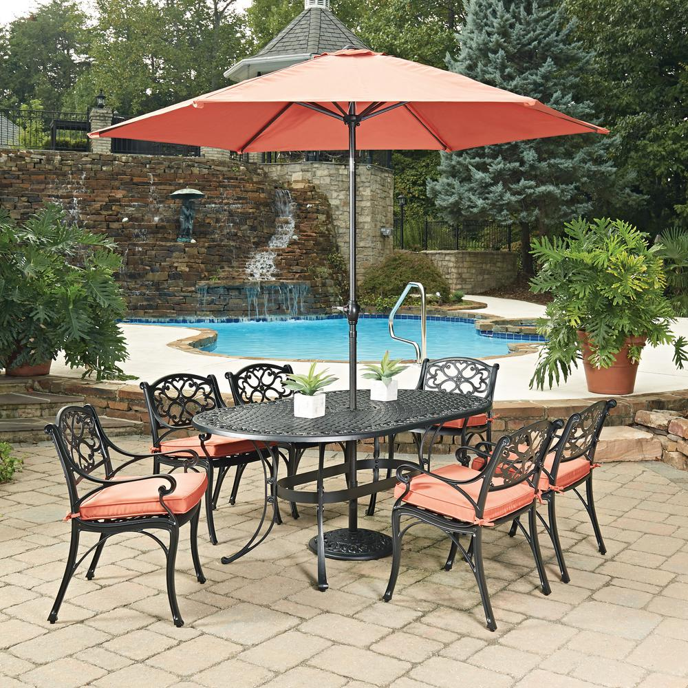 Home Styles Biscayne Black 9 Piece Cast Aluminum Outdoor Dining Set With  Coral Cushions